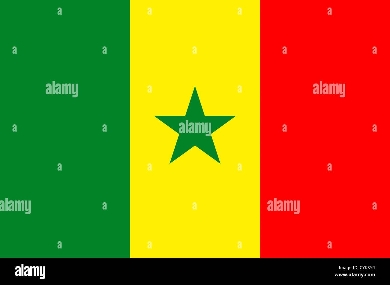Drapeau national de la République du Sénégal. Photo Stock