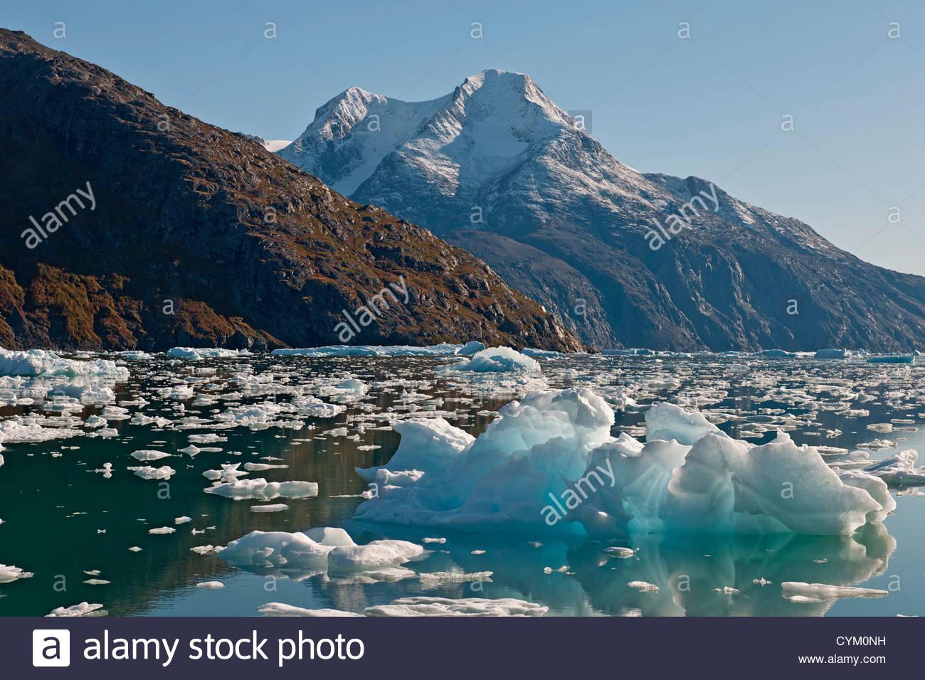 Montagnes et lac glaciaire Photo Stock
