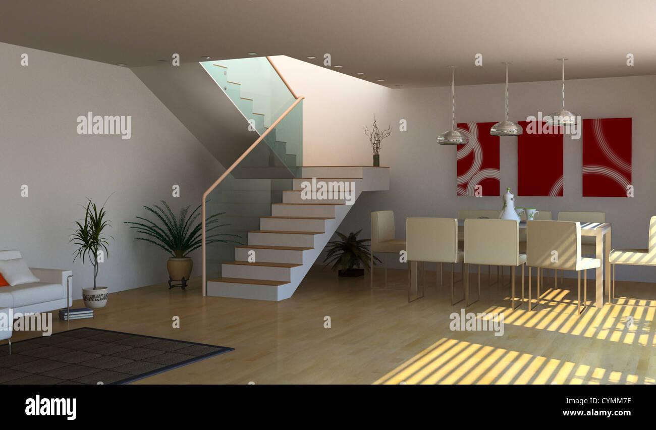 Design intérieur moderne(3D Rendering) Banque D'Images