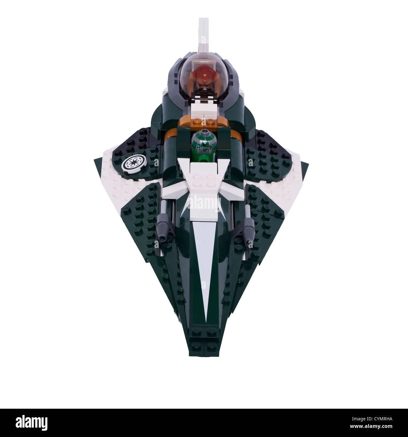 Un Lego Star Wars jouet sur un fond blanc Photo Stock