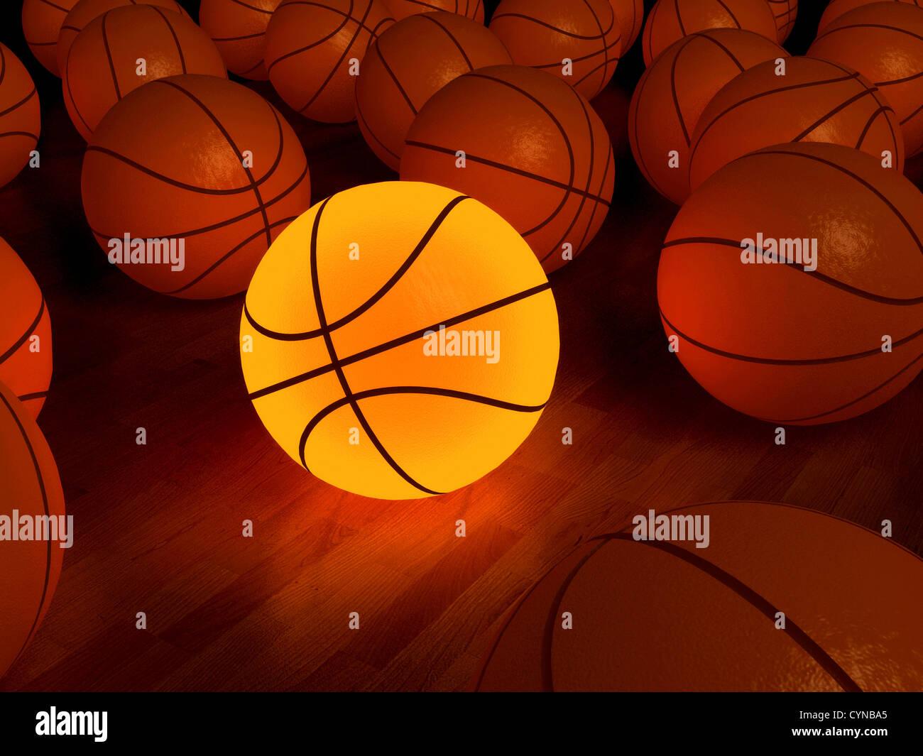 Basket-ball ballon de préchauffage sur le plancher de bois franc (3D) Banque D'Images