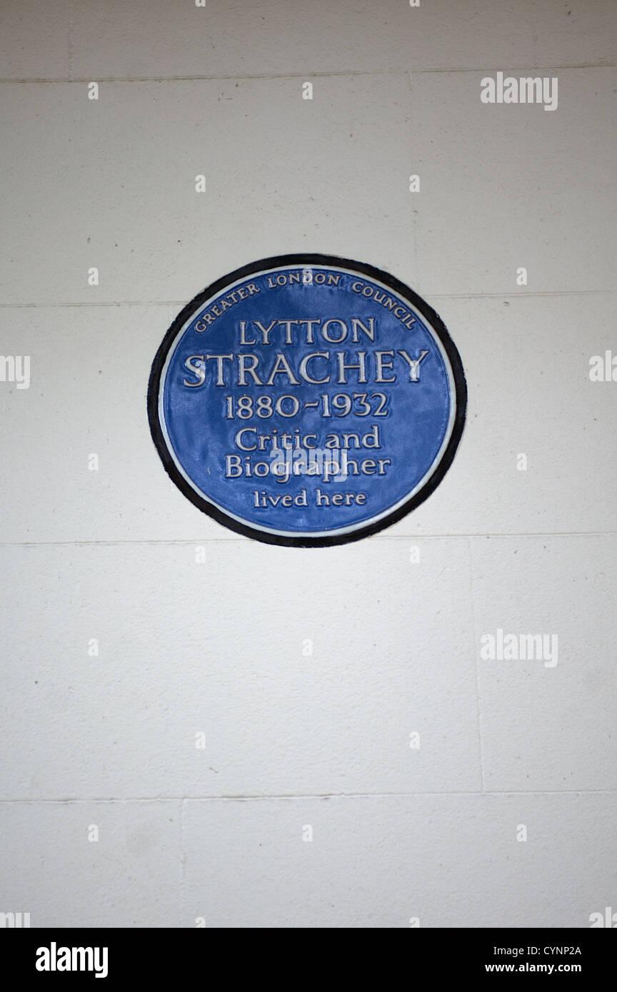 English Heritage blue plaque à Londres. Lytton Strachey Banque D'Images