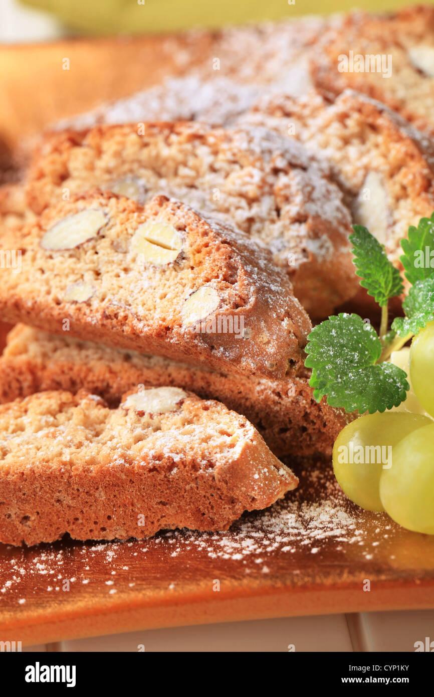 Détail de biscottes aux amandes italien traditionnel Photo Stock