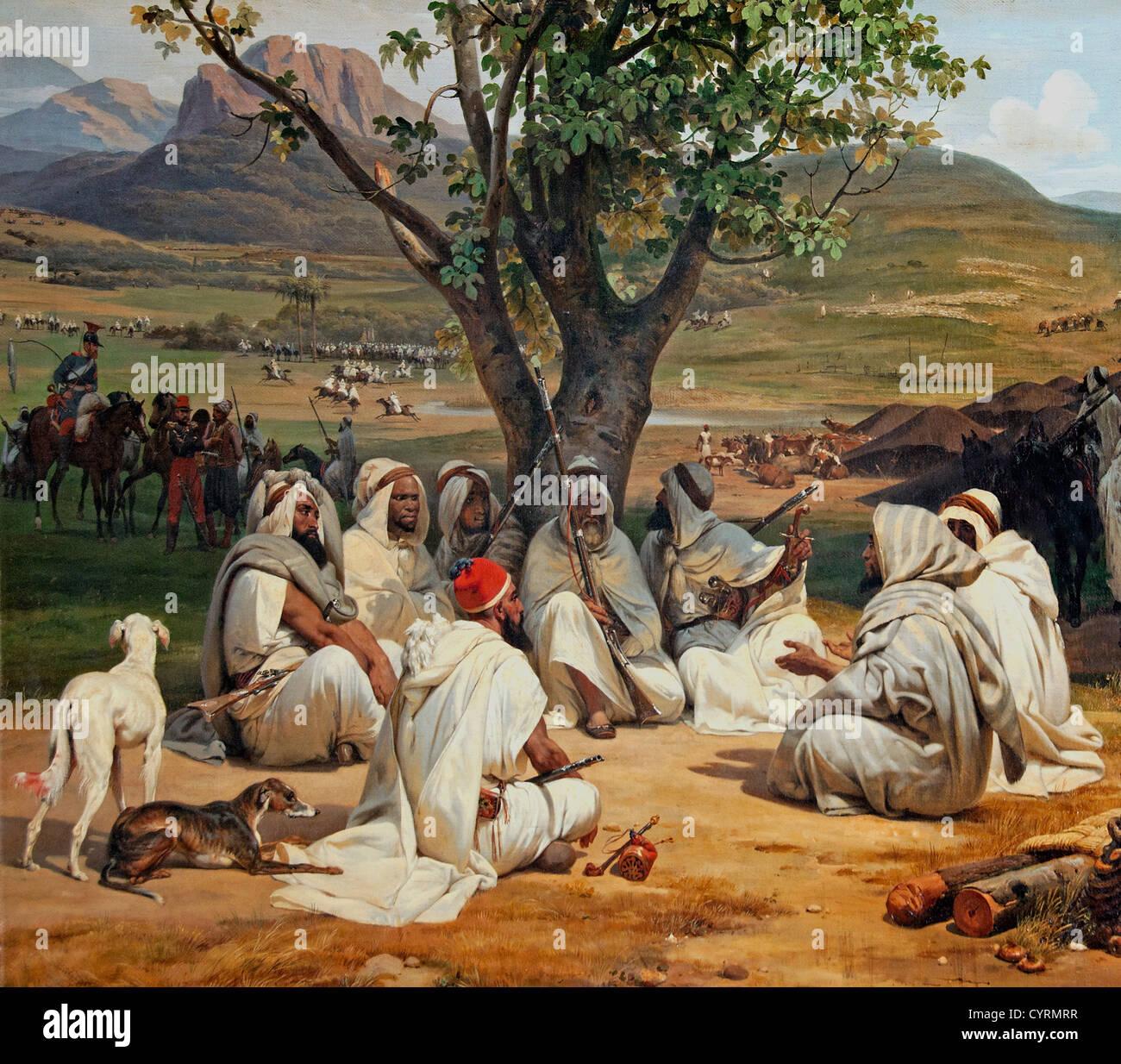 Réunion du chef arabe arabe du 19e siècle, Emile Jean Horace Vernet (1789-1863) France Photo Stock