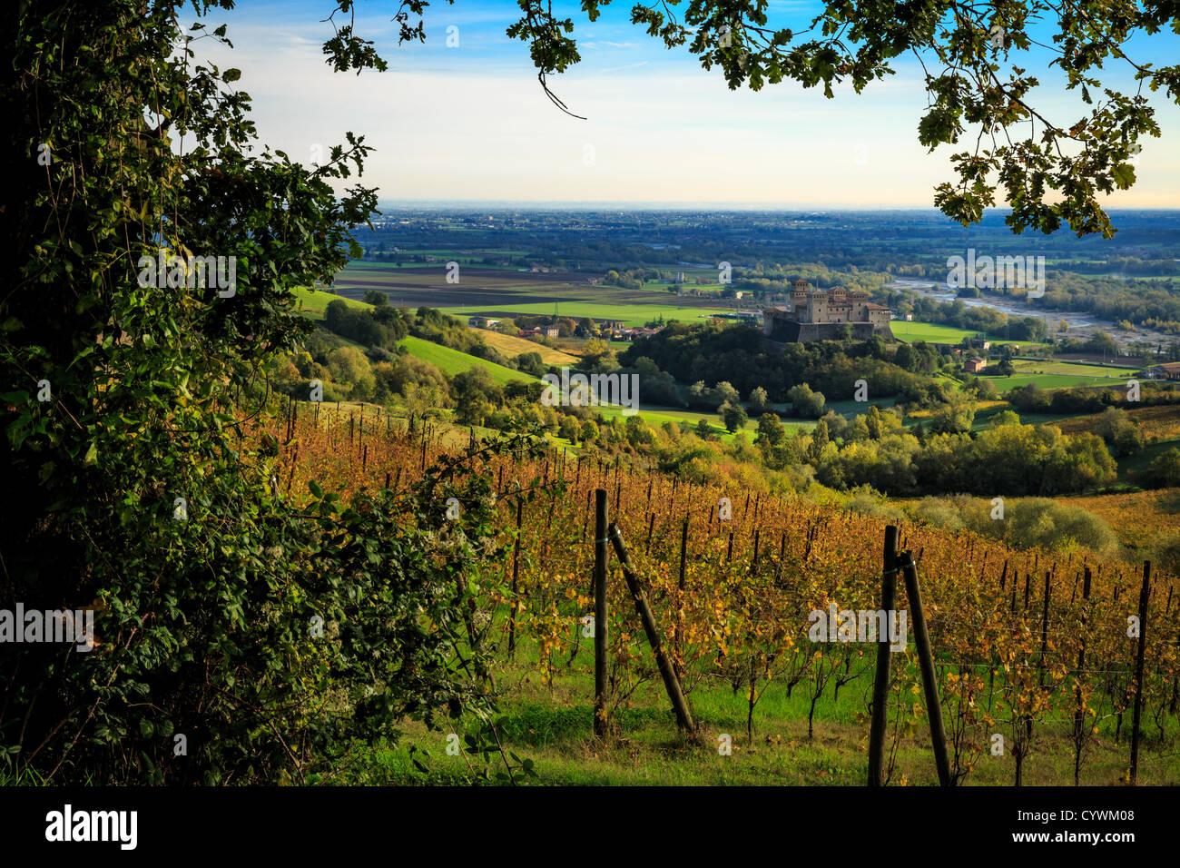 Vu de l'Apennin de la vallée du Pô, Langhirano, Parme, Italie Photo Stock