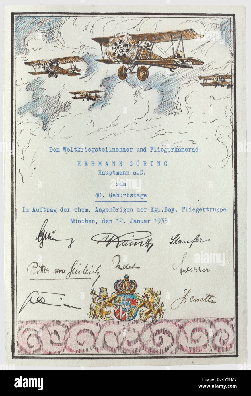 Hauptmann Hermann Göring, une carte de félicitations d'anciens camarades pour son anniversaire 1933 Photo Stock