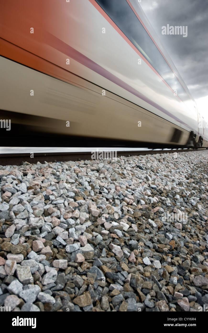 Un train en mouvement. Symbole de vitesse Photo Stock