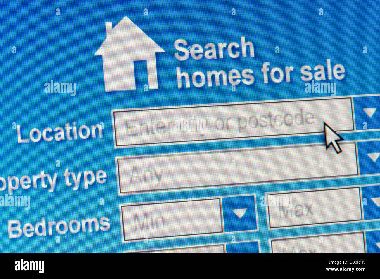 Close up d'un site fictif invitant les utilisateurs à rechercher une base de données de maisons à Photo Stock