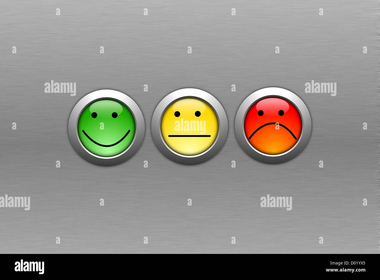 Enquête de satisfaction client concept avec smilie et bouton Photo Stock
