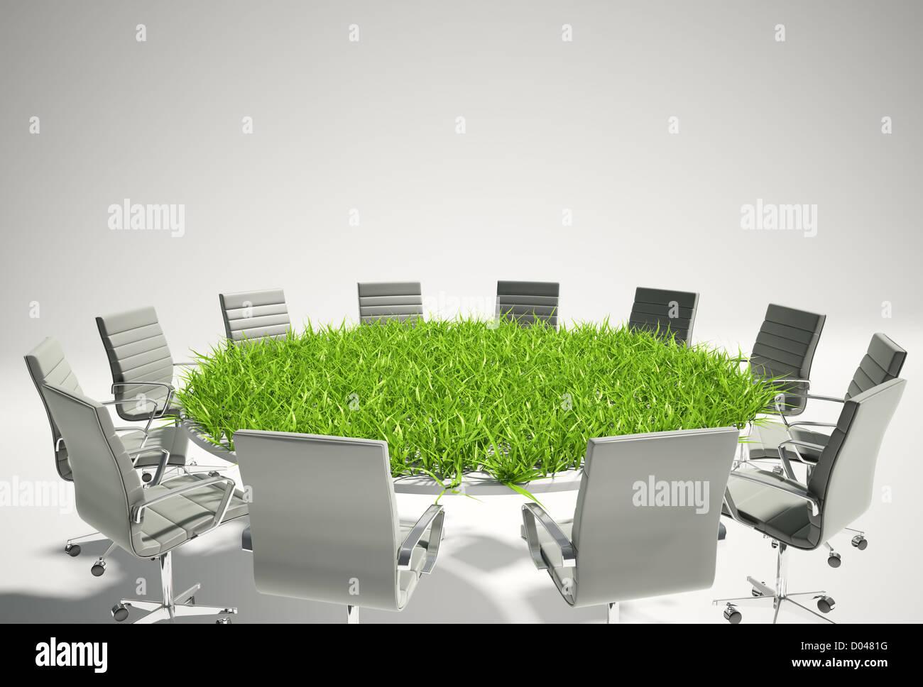 Table de conférence couverte d'herbe - Analyse des perspectives du concept Photo Stock