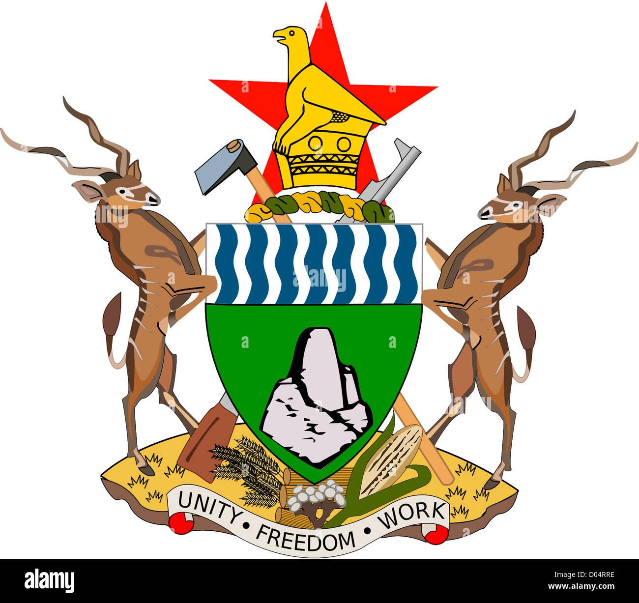 Les armoiries de la République du Zimbabwe. Photo Stock