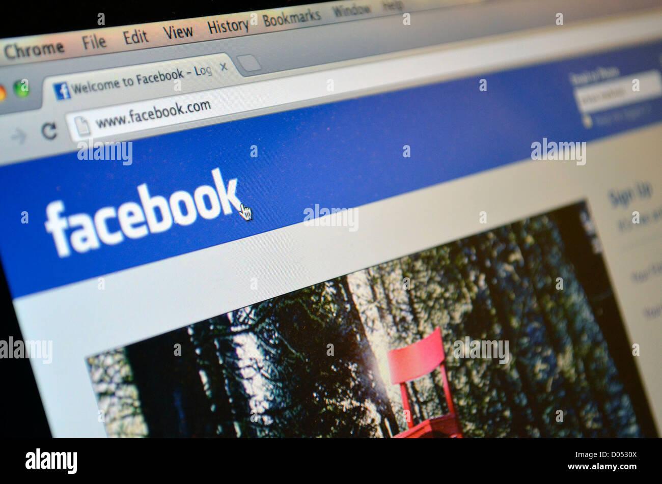 Dans la page de connexion Facebook Photo Stock