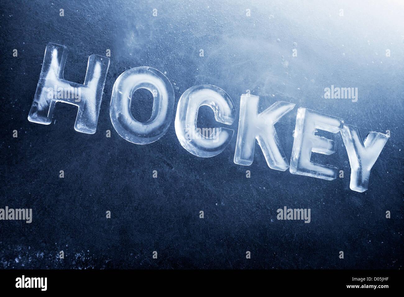 Mot écrit au hockey sur glace avec des lettres. Photo Stock