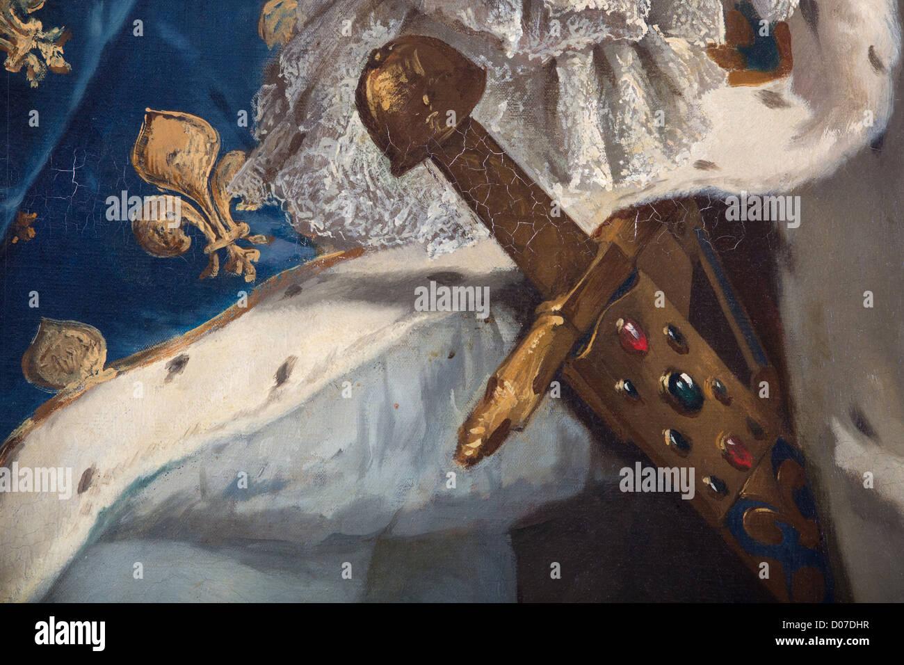 Détail épée 'JOYEUSE' NOUS RAPPELLE QUE LE ROI EST LE CHEF DES ARMÉES PORTRAIT LOUIS Photo Stock