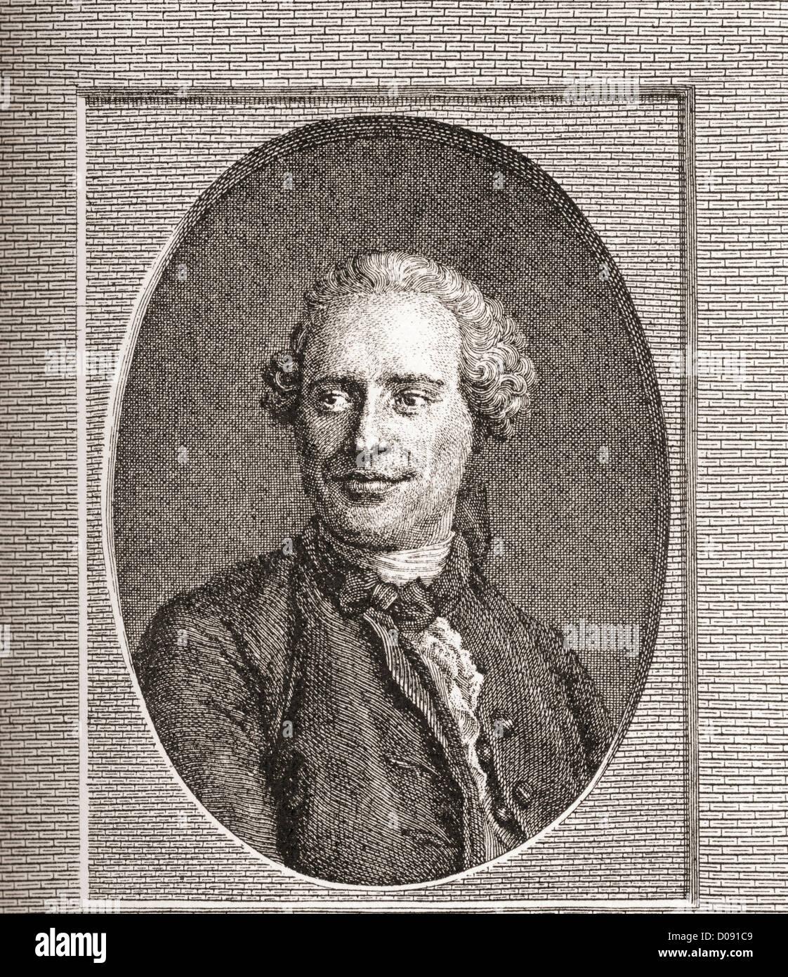Jean-Baptiste le Rond d'Alembert, 1717 -1783. Mathématicien et philosophe français. Photo Stock