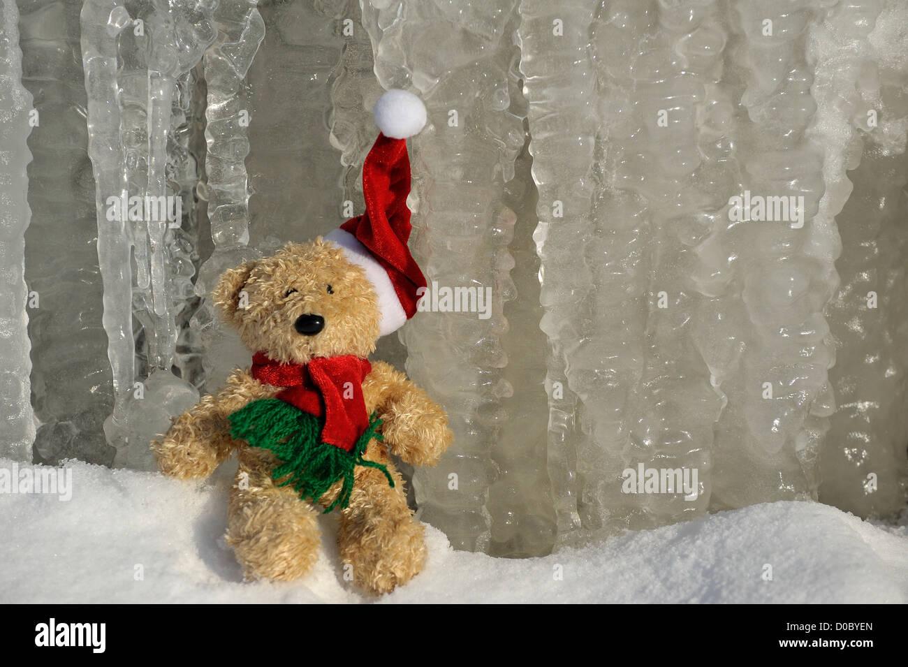 Teddy en père Noël Photo Stock