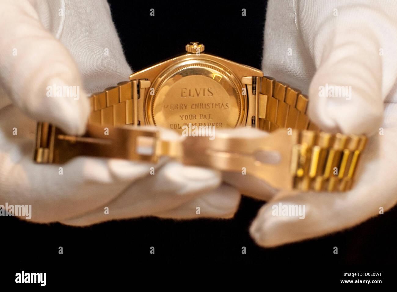 Vente aux enchères chez Christie's. 23/11/2012 , , Londres, Royaume-Uni - Elvis Presley's fine et rare Photo Stock