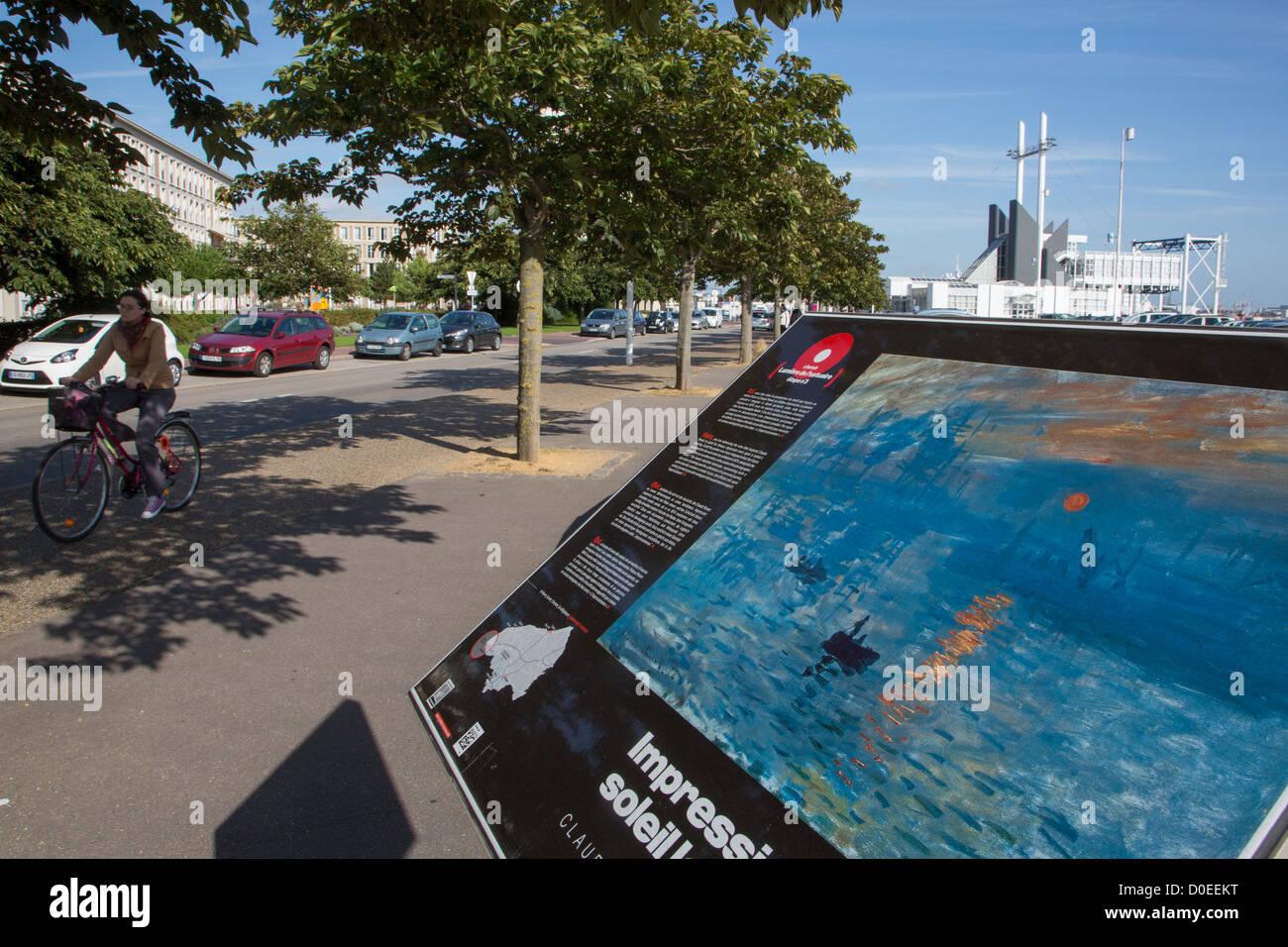 Support d'AFFICHAGE D'UN TABLEAU DE CLAUDE MONET IMPRESSION Soleil Levant LE HAVRE Seine-maritime (76) FRANCE Photo Stock