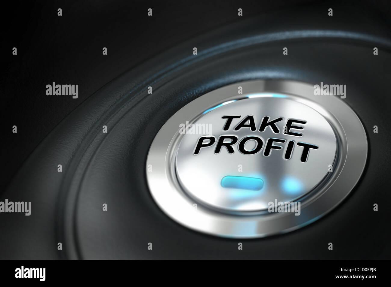 Bouton take profit sur fond noir avec effet de flou, l'investissement du marché, conceptual image Banque D'Images