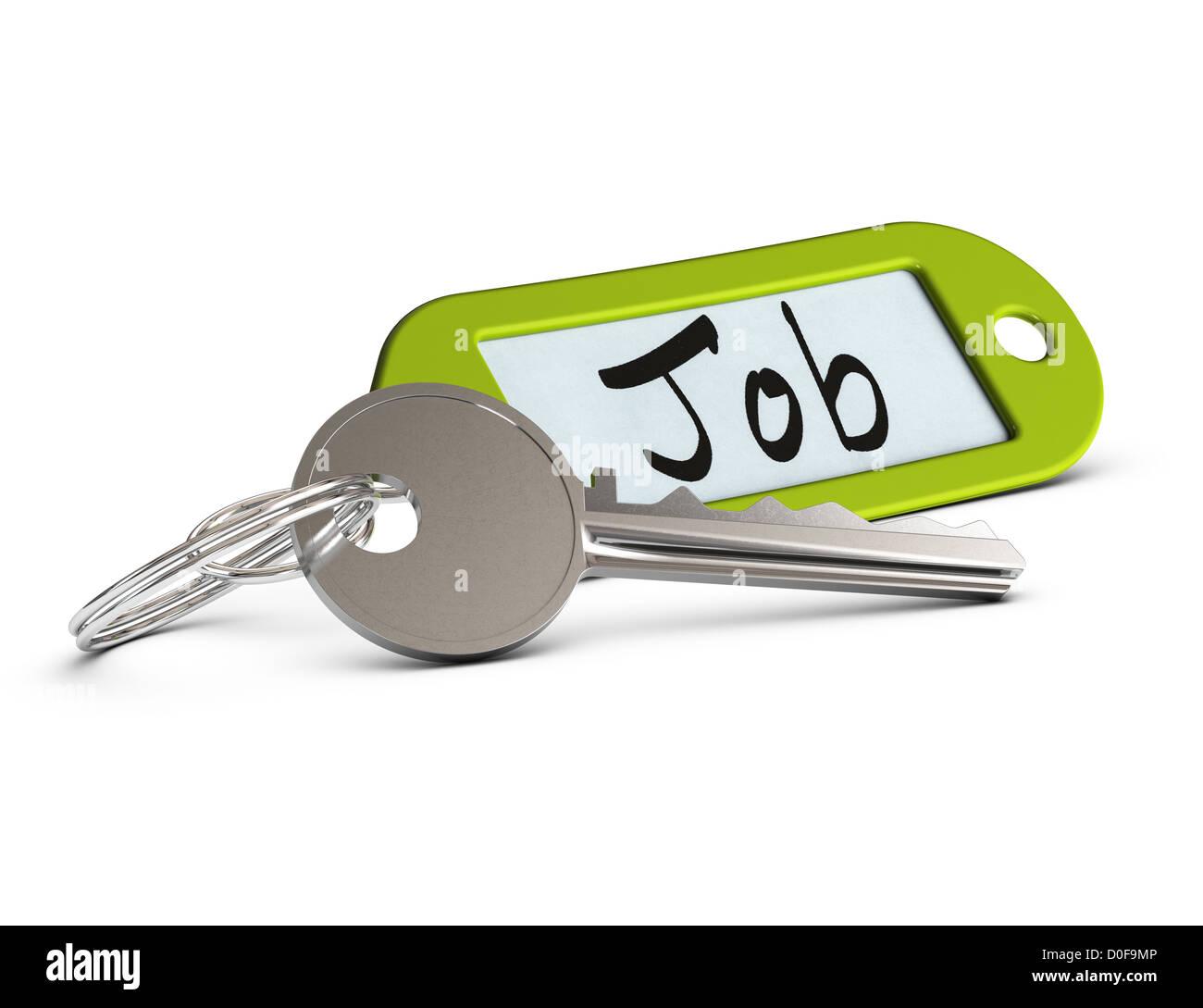 Trousseau de clés et vert où il est écrit le mot emploi sur fond blanc Photo Stock