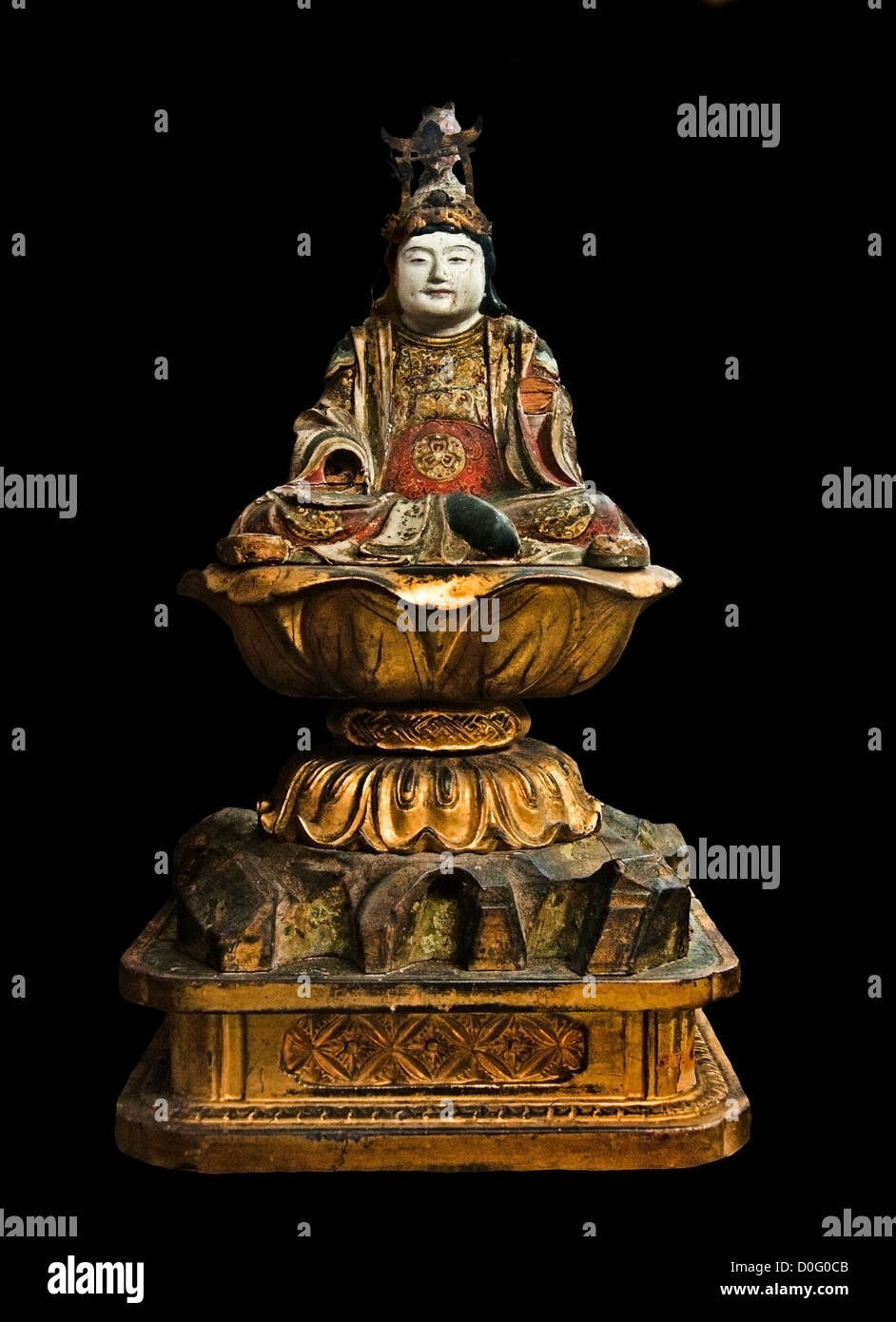 Bois doré et Kwannon 11e - 13e siècle Japon Photo Stock