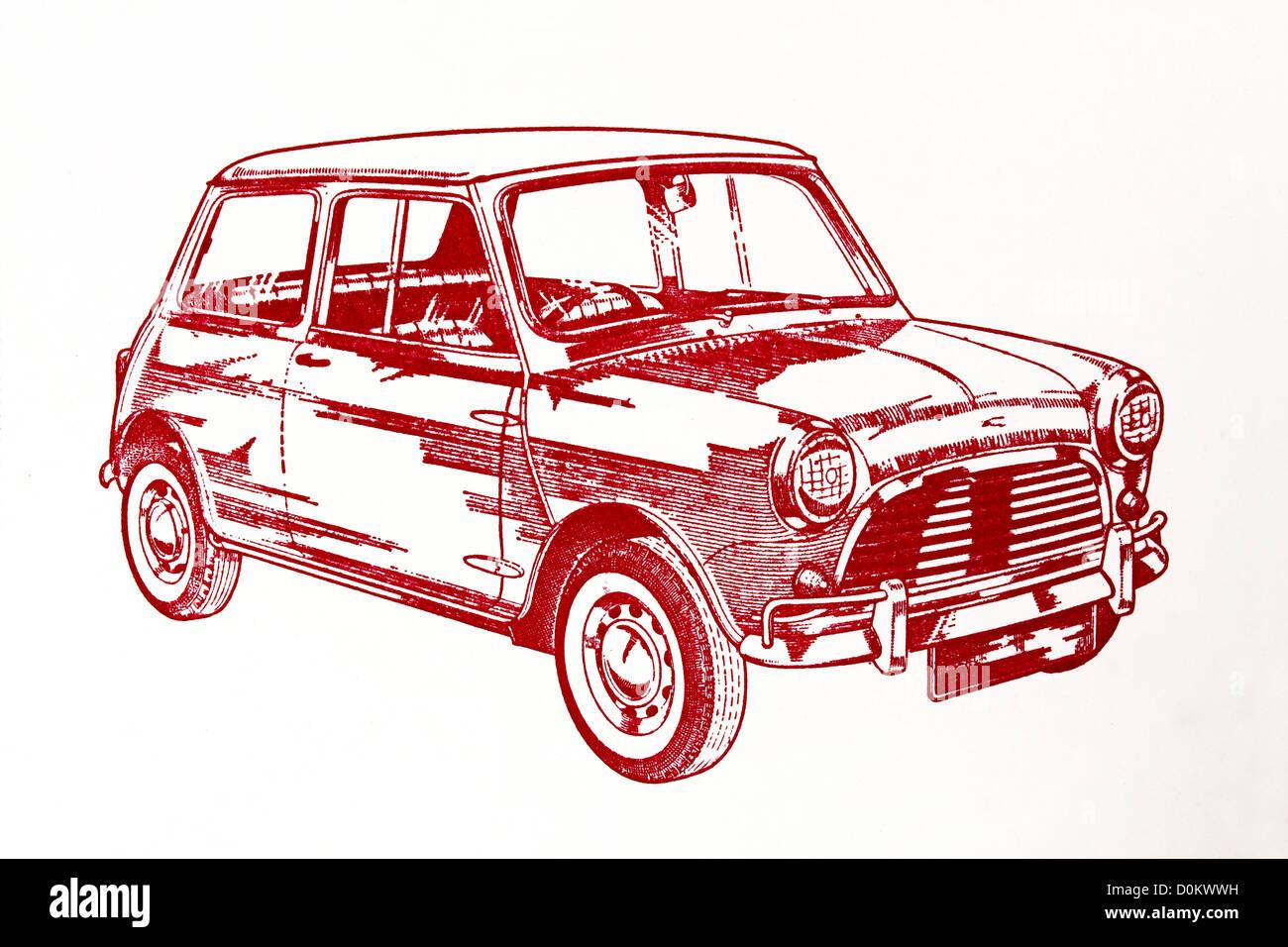 Illustration Dun Art De La Ligne Des Années 60 Austin Mini Cooper