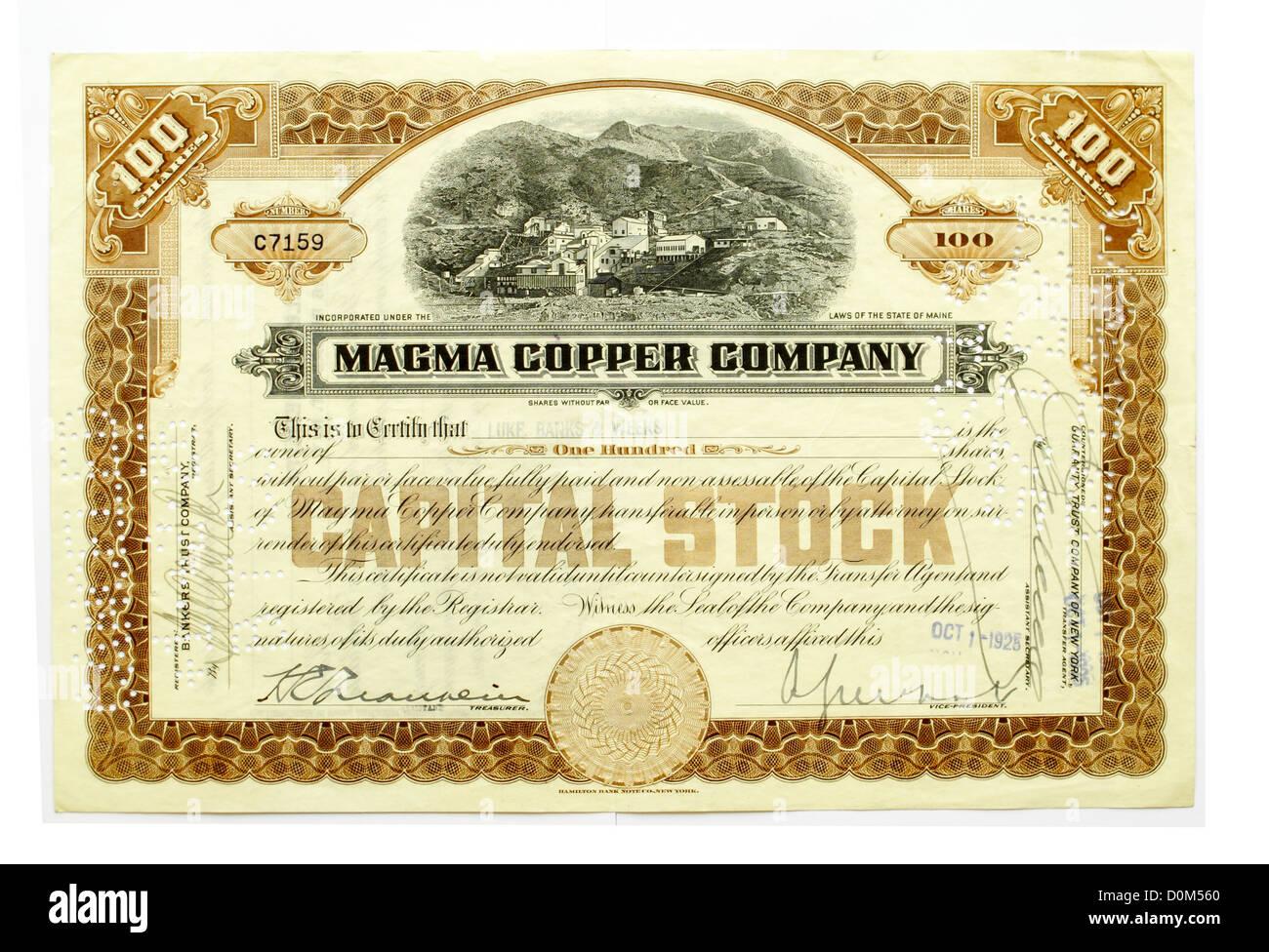 Certificat d'actions de la société de cuivre Magma Photo Stock