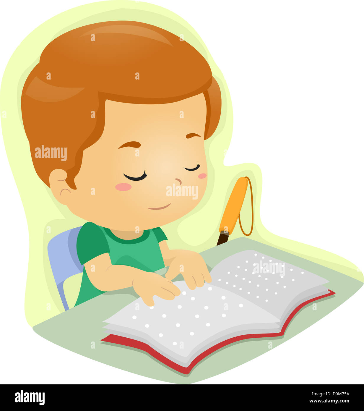 Illustration D Un Garcon Aveugle De Lire Un Livre Ecrit En