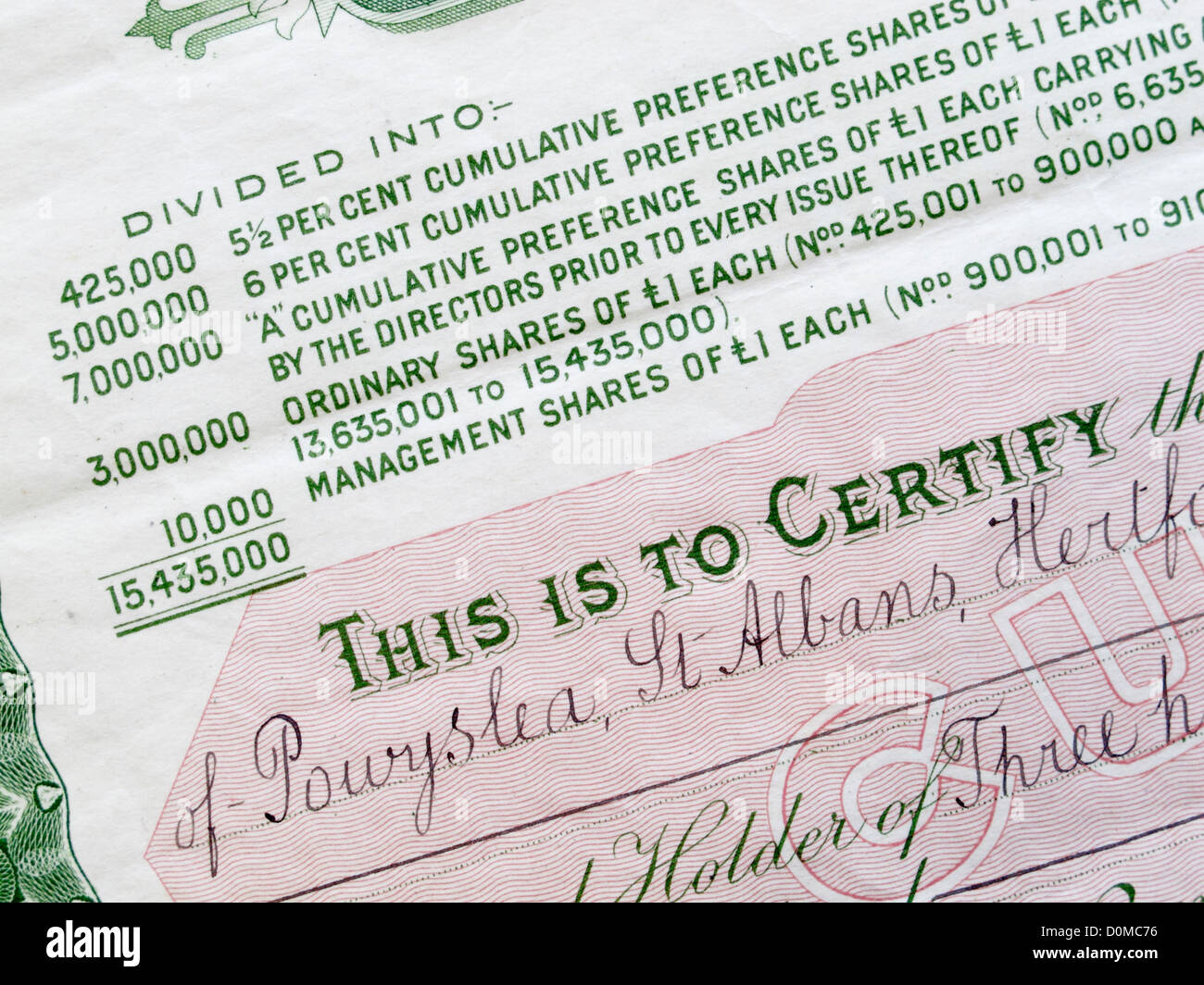 Close up detail d'un certificat d'actions Photo Stock