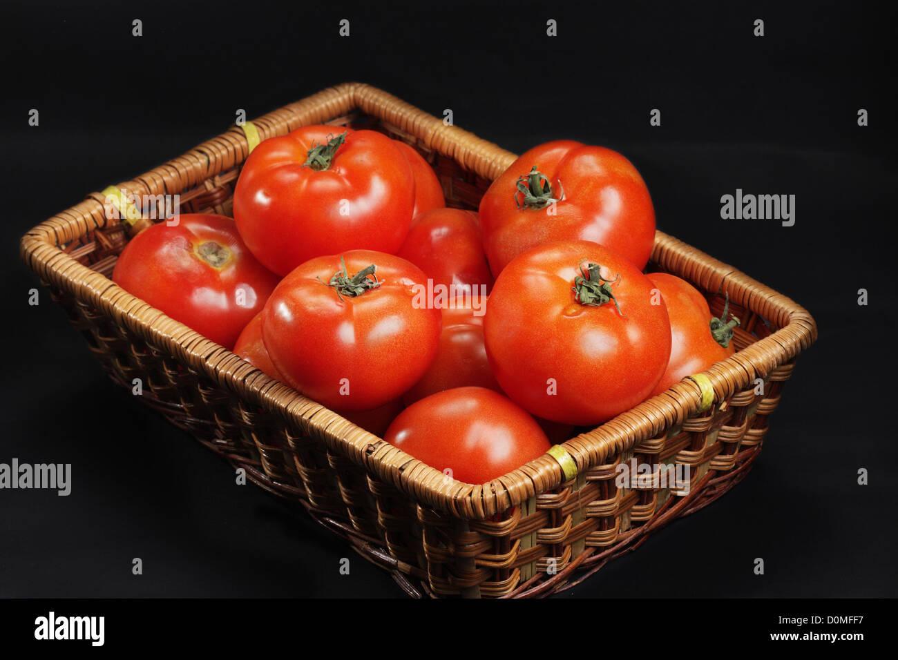 Panier avec tomates intactes seulement Photo Stock