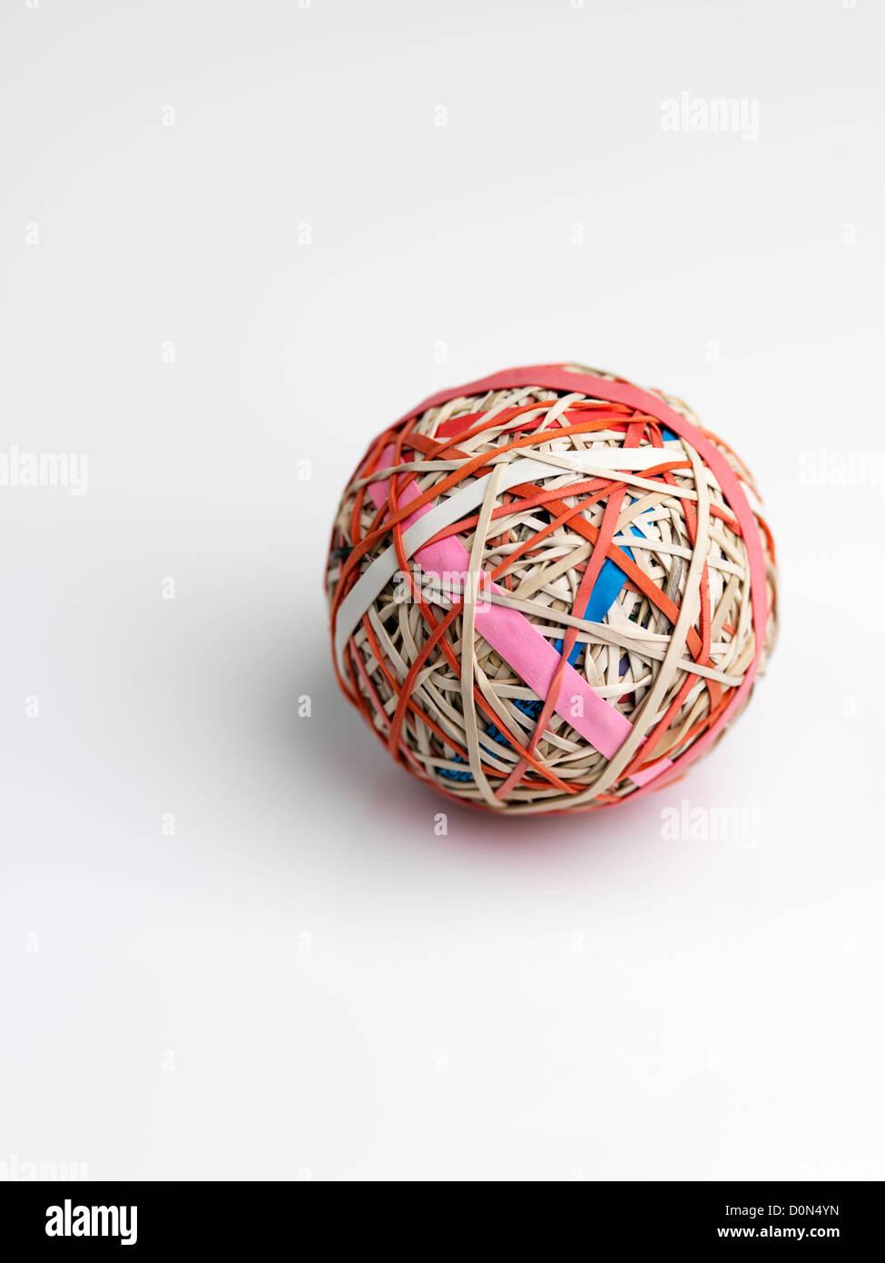 Balle Balle élastique, composé de bandes en caoutchouc sur les autres plaies Photo Stock
