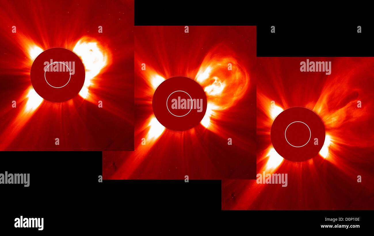 Ces trois images SOHO (Solar Heliospheric Observatory) chaînes pris plus de deux heures LASCO (large angle Photo Stock