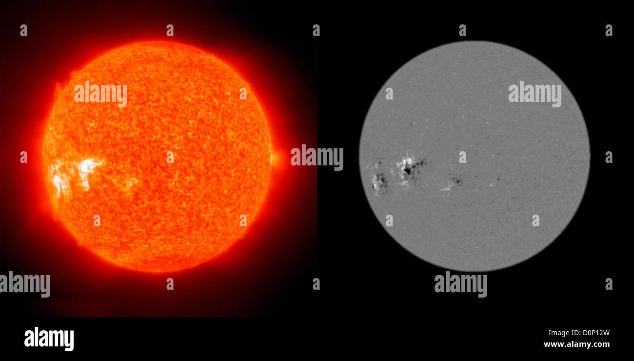 Deux images soleil Solar Heliospheric Observatory (SOHO) l'une Extreme ultraviolet Imaging Telescope (IET) 304 Photo Stock