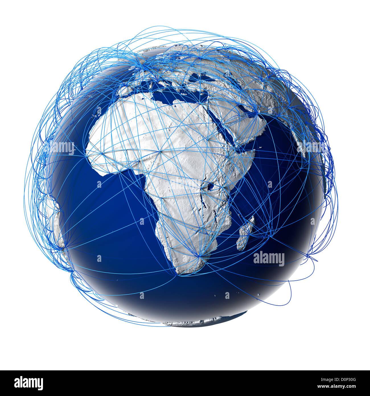 Les grandes routes de l'aviation sur le globe Banque D'Images