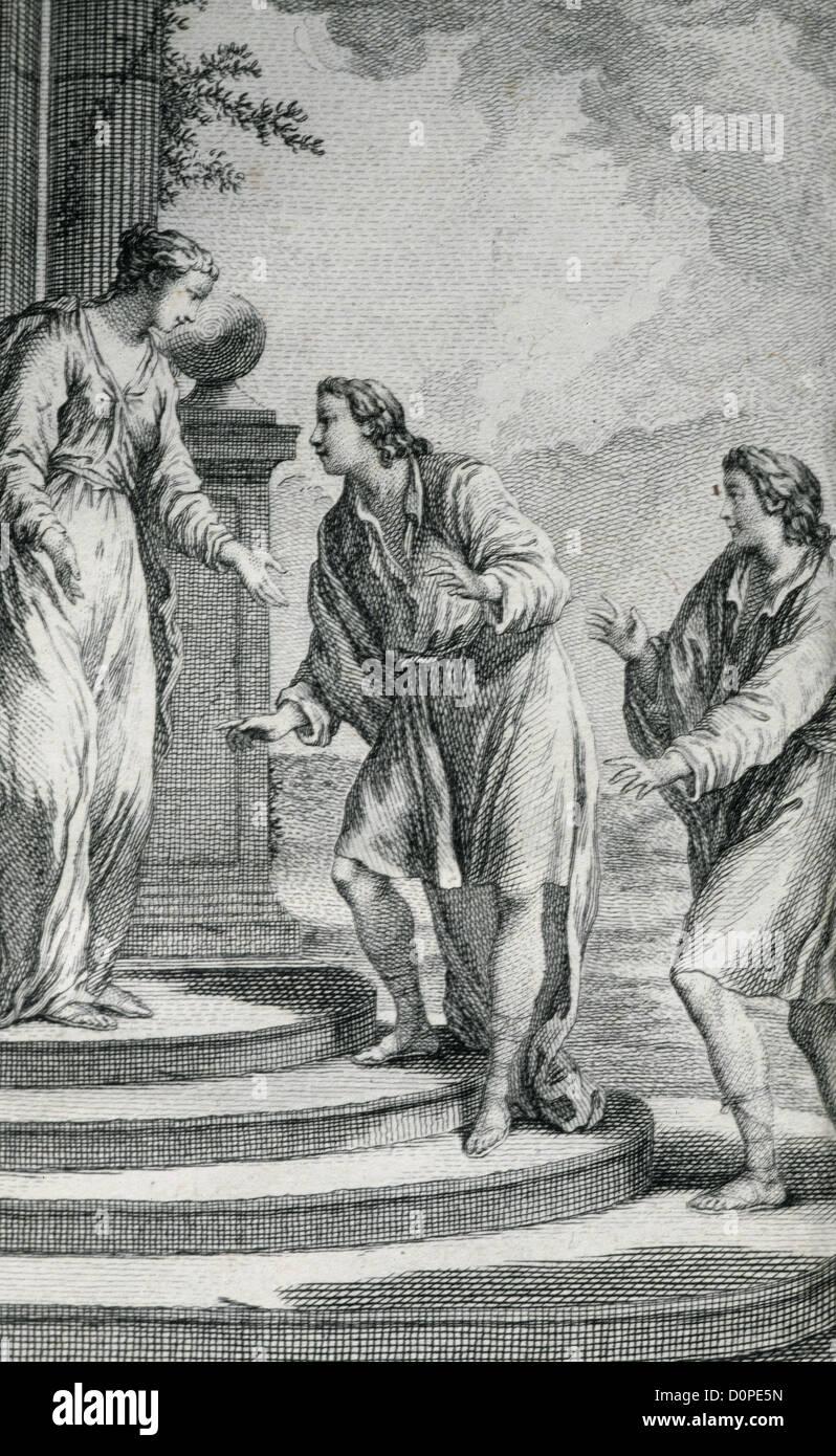 Titus Maccius Plautus (250-184). Dramaturge Latin. Gravure de ses comédies. Paris, 1759. Photo Stock