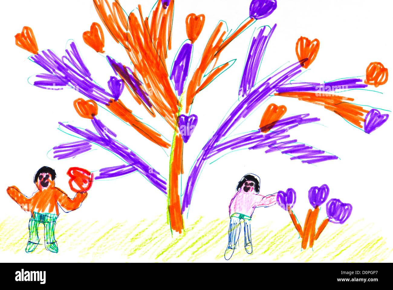 Dessin d 39 enfants les gens et l 39 arbre avec le coeur banque d 39 images photo stock 52127215 alamy - Dessin nounours avec coeur ...