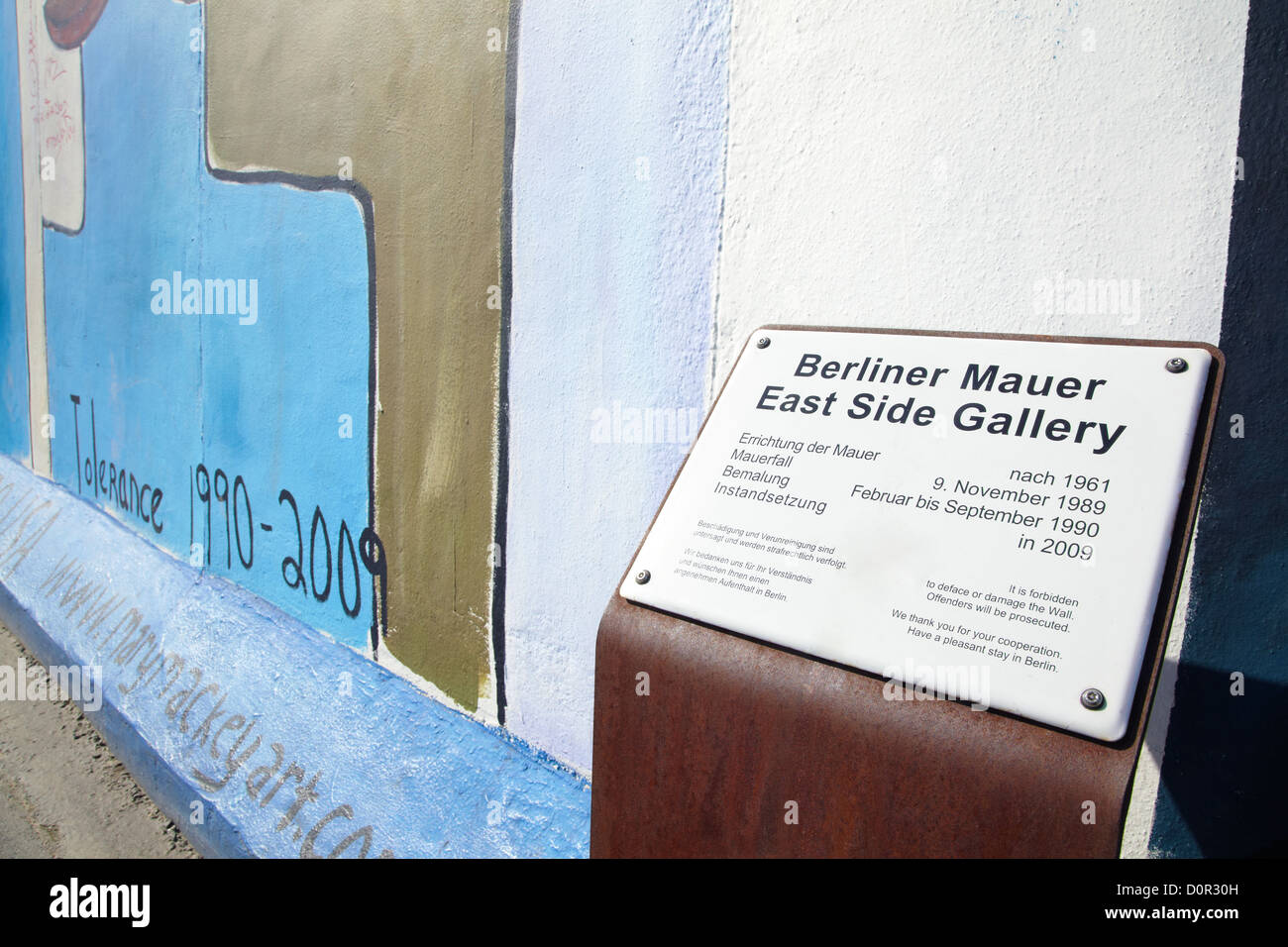 East Side Gallery sign in Berlin Photo Stock