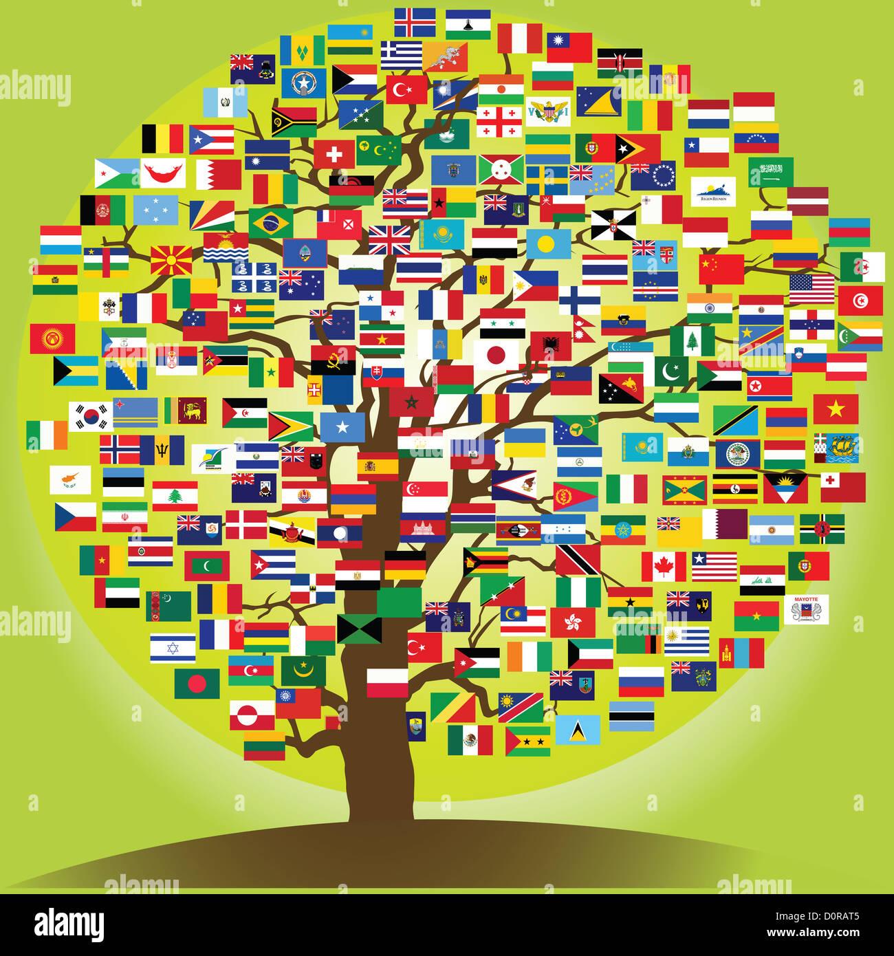 Symbole de l'arbre de la paix de l'amitié entre les nations Photo Stock