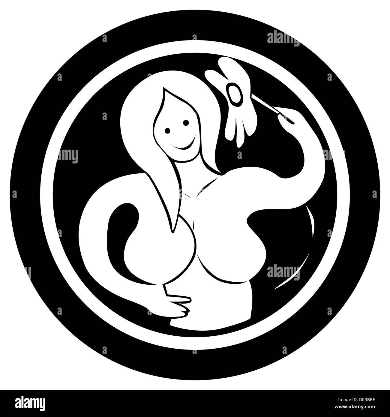 Signe Astrologique Vierge Tattoo Banque D Images Photo Stock