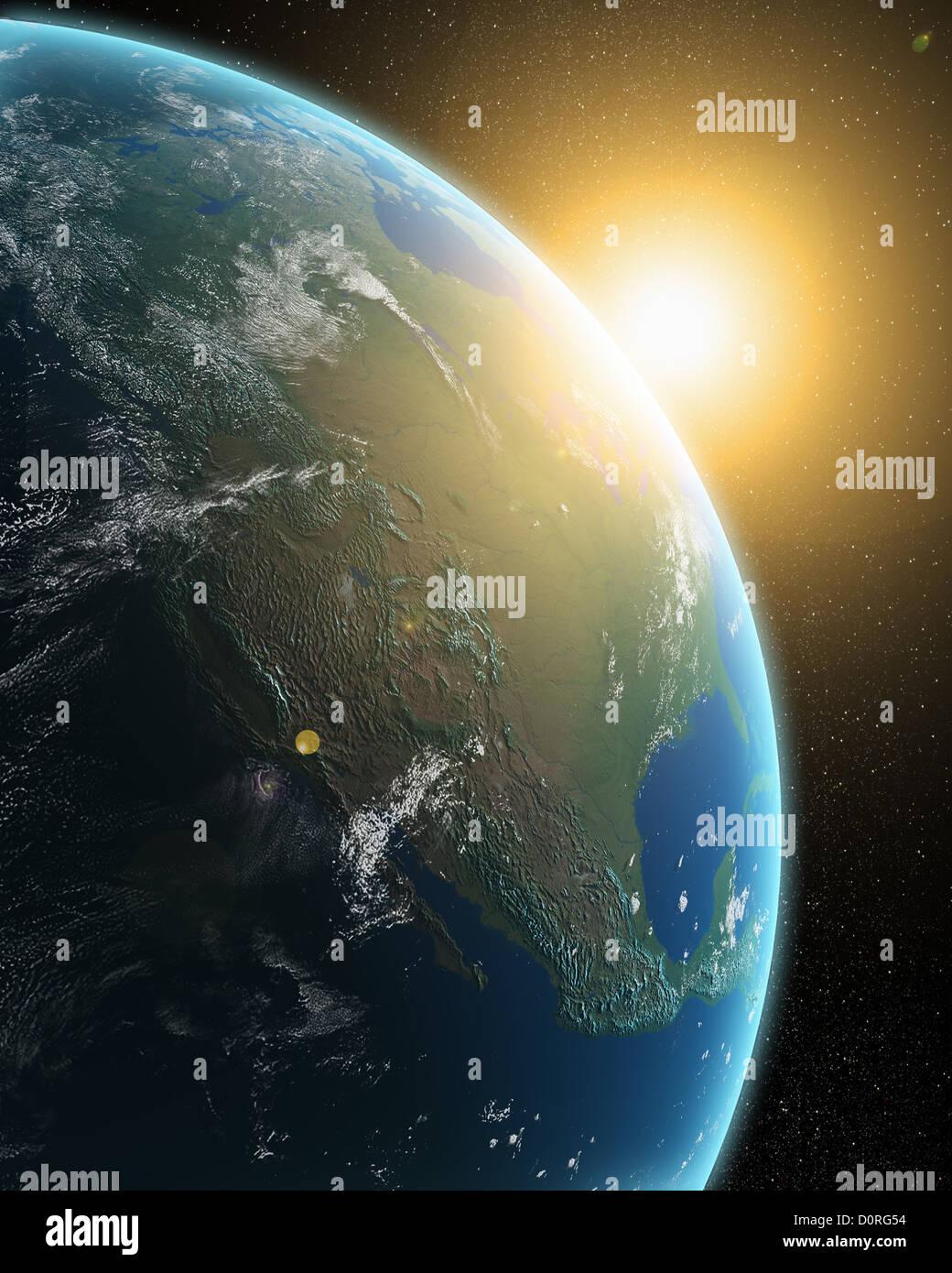 Vue de la Terre depuis l'espace extra-atmosphérique Photo Stock