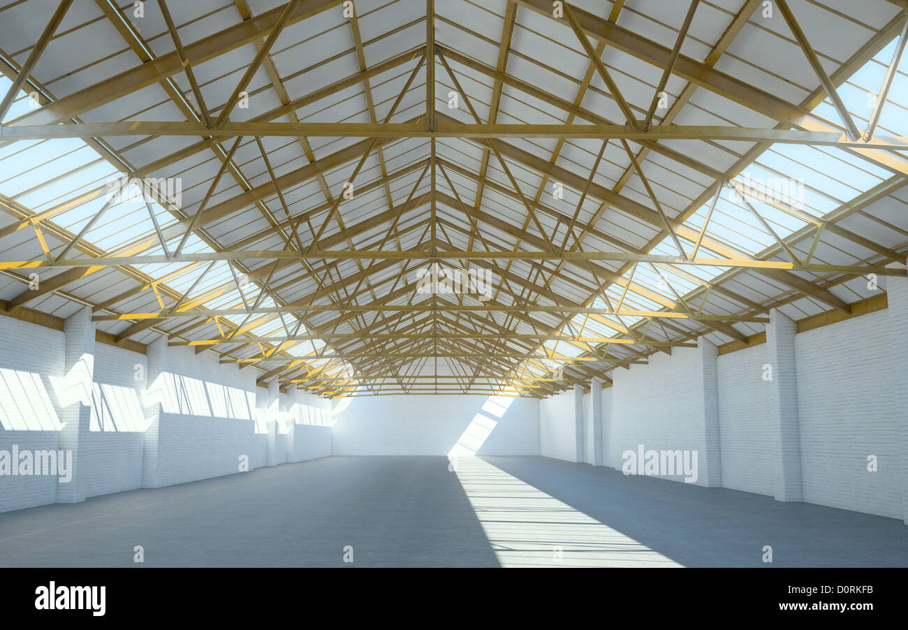 Intérieur d'un entrepôt vide Photo Stock