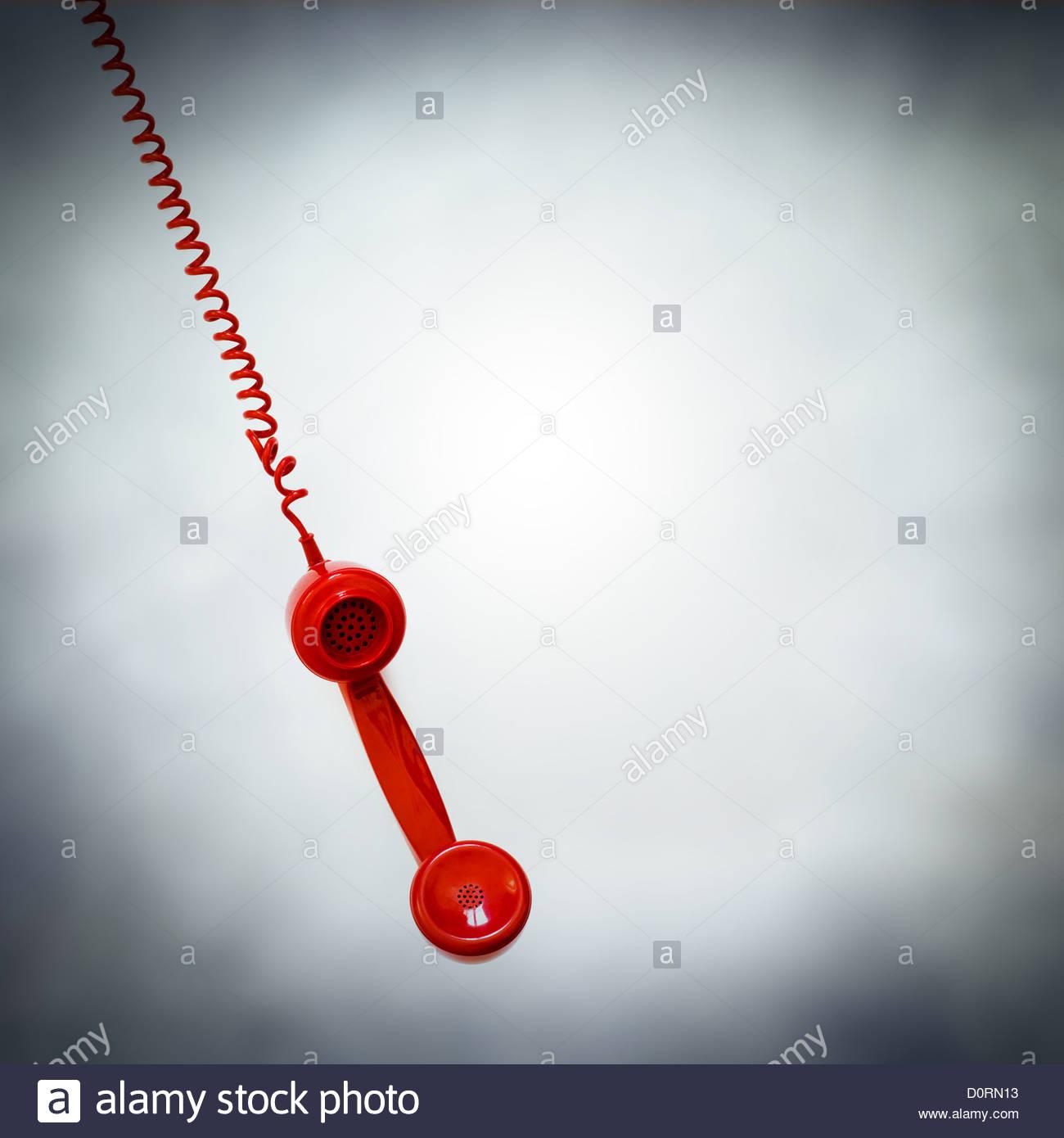 Téléphone rouge pendaison Photo Stock