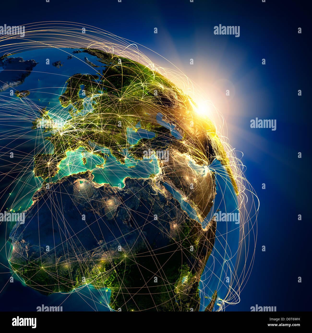 Les routes aériennes principales en Europe Photo Stock