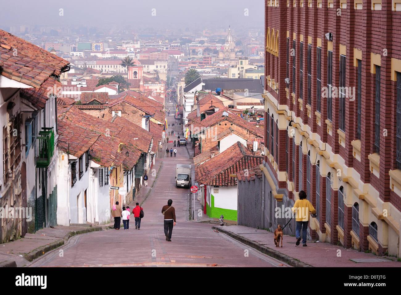 , Vieille Ville, tuile, toits, centre historique, Bogota, Colombie, Amérique du Sud Photo Stock