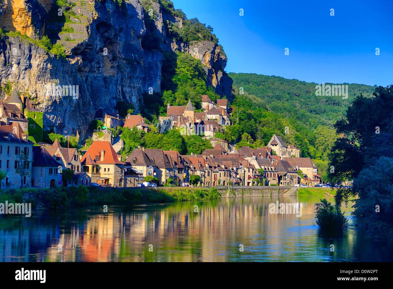 France, Europe, voyage, Dordogne, La Roque Gageac, rivière, l'architecture, médiévale, réflexion, Photo Stock