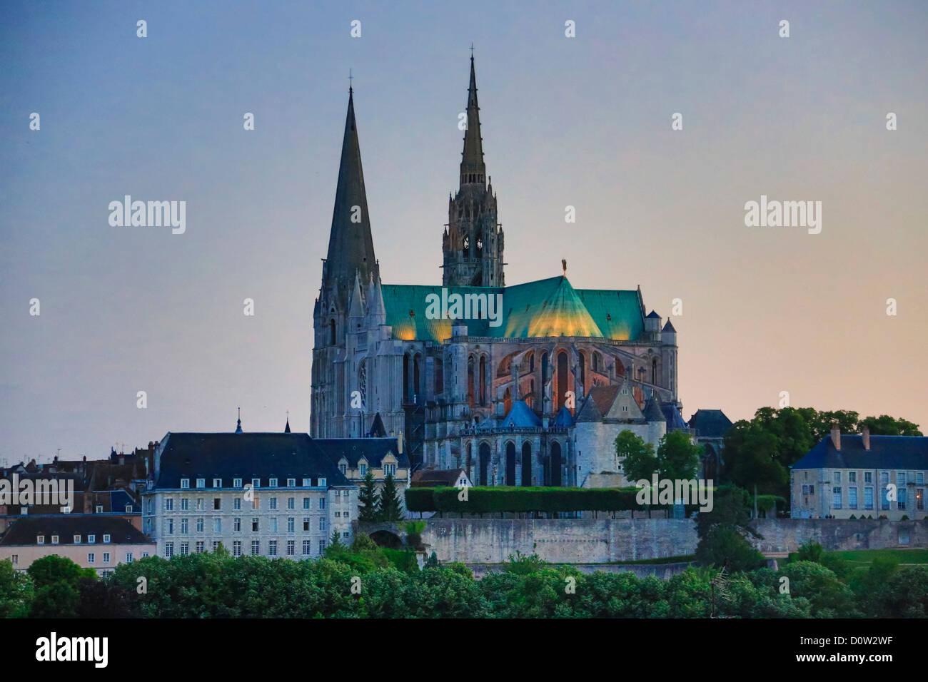 France, Europe, voyage, Chartres, cathédrale, patrimoine mondial, l'architecture, l'histoire, cité Photo Stock