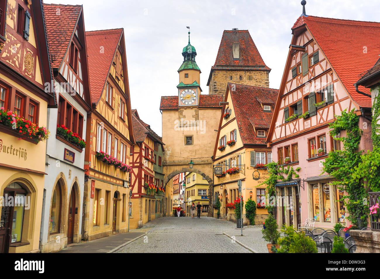 Allemagne, Europe, voyage, Rothenburg, Route Romantique, Rodergasse, Rue, Markus, Gate, l'architecture, Bavaria, Photo Stock