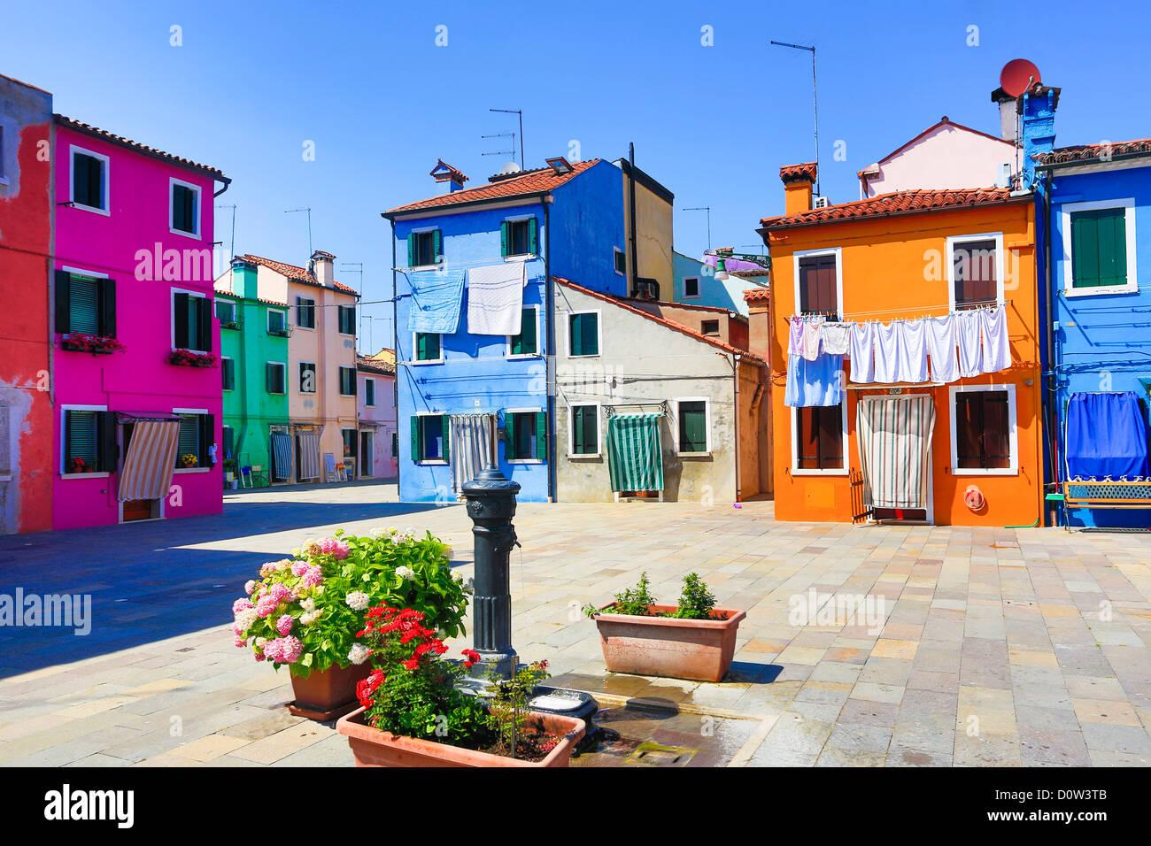 L'Italie, l'Europe, voyage, Burano, architecture, colorées, couleurs, tourisme, Venise, fontaine Photo Stock