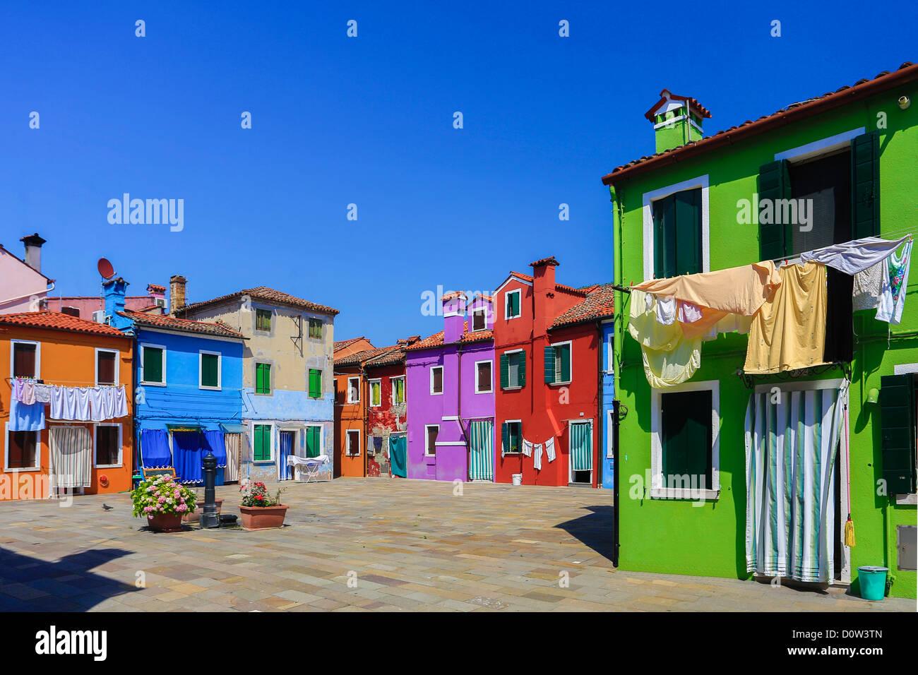 L'Italie, l'Europe, voyage, Burano, architecture, colorées, couleurs, tourisme, Venise, maisons Photo Stock