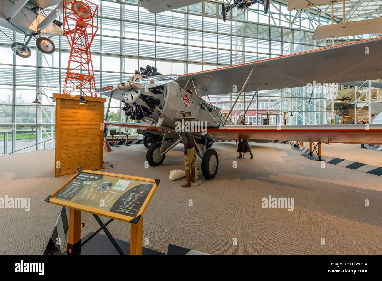 Une réplique 1928 Boeing Model 40B Plan de par avion, le Musée de l'aviation, Seattle, Washington, Photo Stock